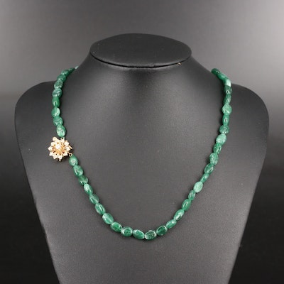 Diamond and Aventurine Beaded Necklace with 14K Flower Clasp