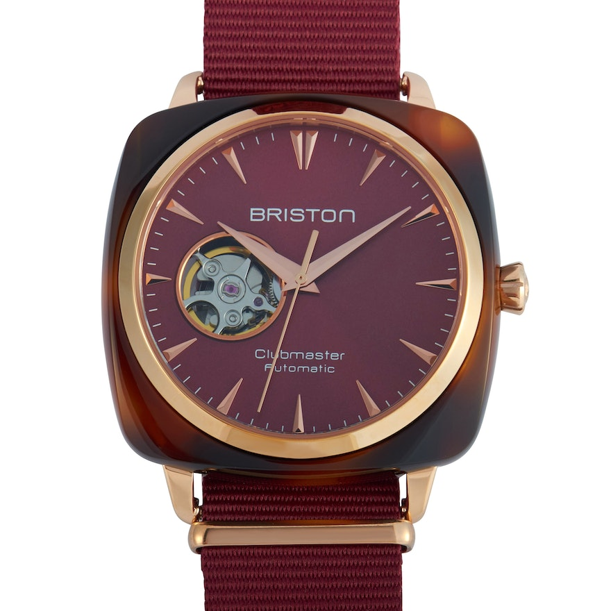Briston Clubmaster Iconic Acetate Gold Burgundy Dial Watch