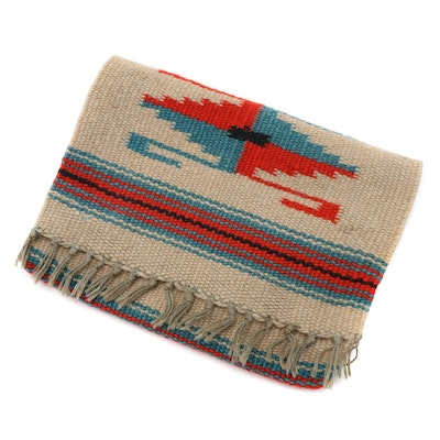 Woven Southwestern Blanket Front Flap Fringed Zip Clutch, 1930s Vintage