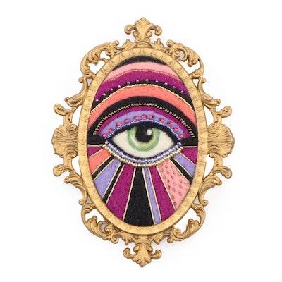 Sarah Miller Mixed Media Fiber Art Wall Hanging of Mystic Eye