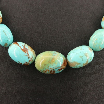 Relios Sterling Silver Graduated Turquoise Bead Necklace