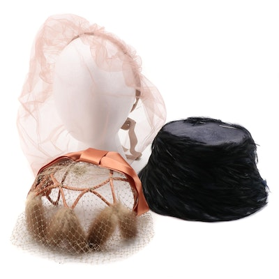 Shillito's Feather Cloche, Mink Fur Trimmed Fascinator and Tulle Veil with Box
