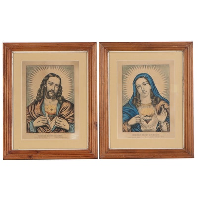 Currier & Ives Hand-colored Lithographs of Sacred Hearts of Mary and Jesus