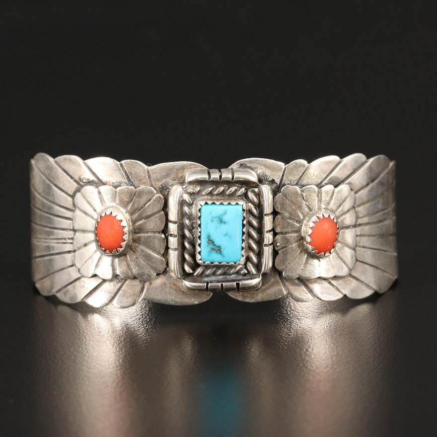 Southwestern Sterling Turquoise and Coral Cuff