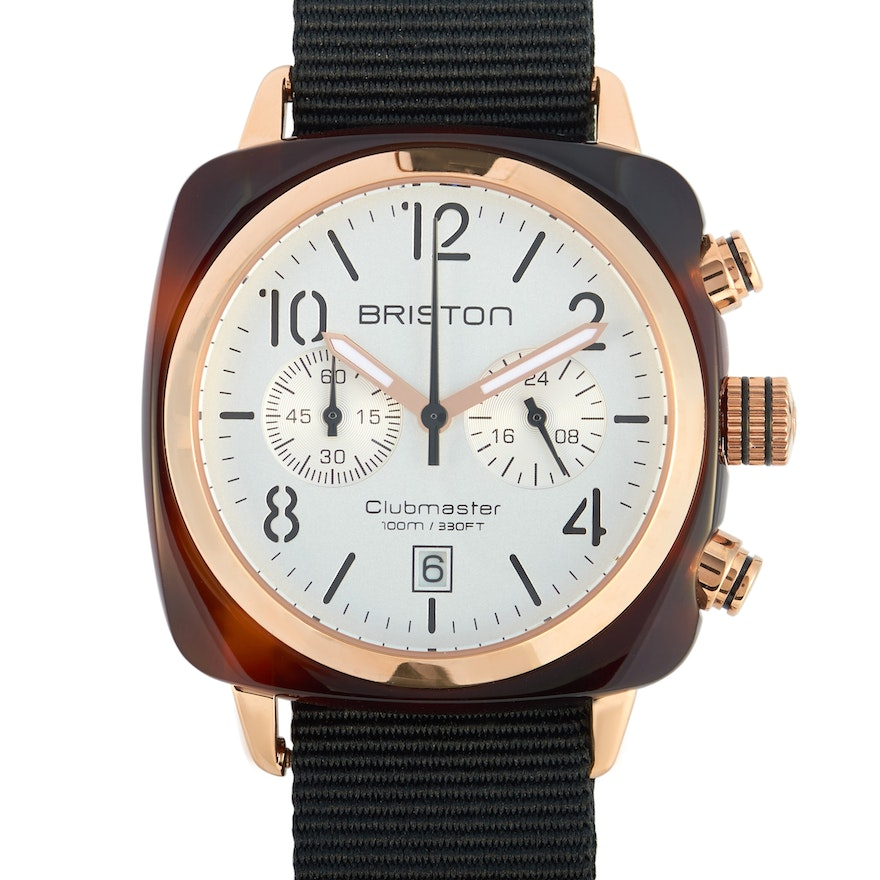 Briston Clubmaster Classic Acetate Gold White Dial Wristwatch