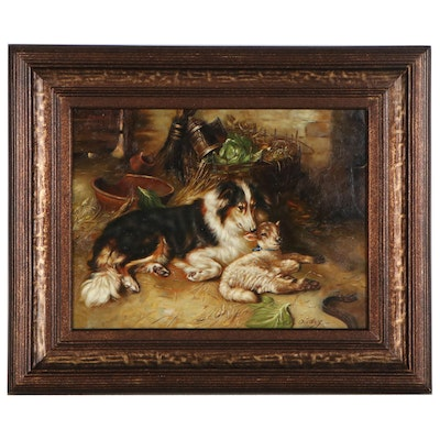 W. Oudry Oil Painting of Shepherd Dog and Lamb, 21st Century