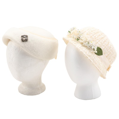 White Wool Felt Hat and Floral Embellished Faux Straw Cloche with Box, Vintage