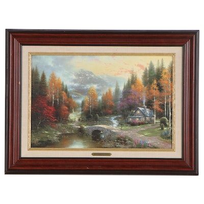 """Offset Lithograph After Thomas Kinkade """"The Valley of Peace"""""""