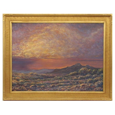 """James Busby Western Landscape Oil Painting """"Late Summer Storm"""""""