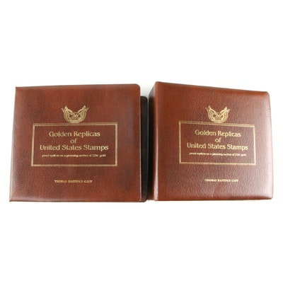 Two Volume Collection of Golden Replicas of U.S. Stamps