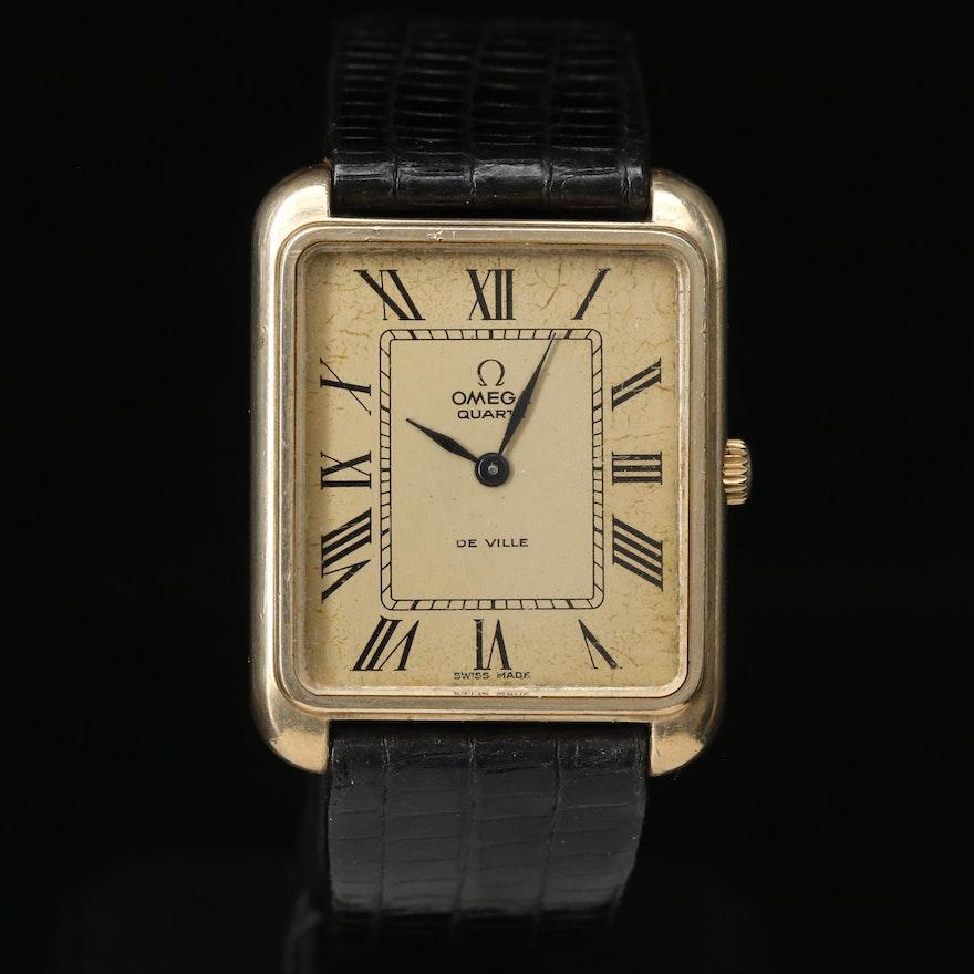 "Late 1970s Omega ""Deville"" 10K Gold Filled Quartz Wristwatch"