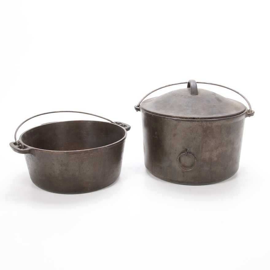 """Wagner """"Round Roaster"""" and Lidded """"Drip Drop Baster"""" Cast Iron Cookware"""