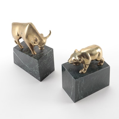Taiwanese Bronze Bear and Bull Figurines on Marble Bases