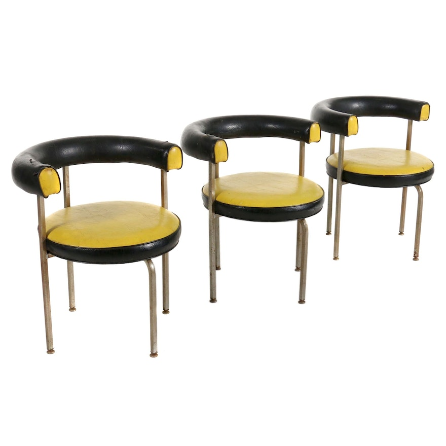 Brody Mid Century Modern Yellow and Black Vinyl Barrel Back Side Chairs
