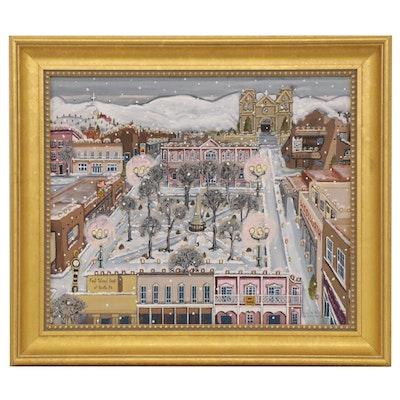 Billie Hutt Acrylic Folk Painting of Santa Fe Plaza in Winter, 1999
