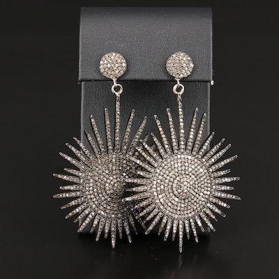 Sterling Silver Diamond Burst Dangle Earrings