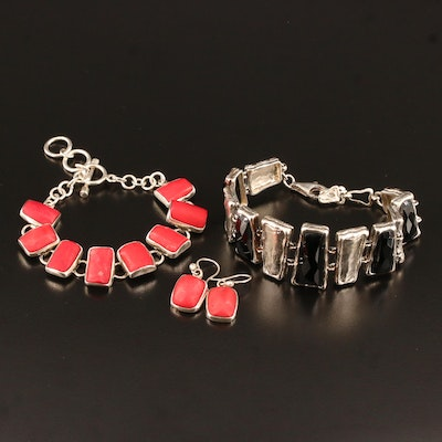 Silpada Sterling Black Onyx Bracelet with Coral Bracelet and Earring Set