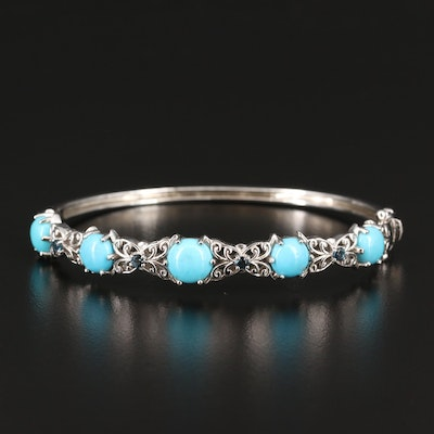 Sterling Turquoise and Topaz Hinged Bracelet