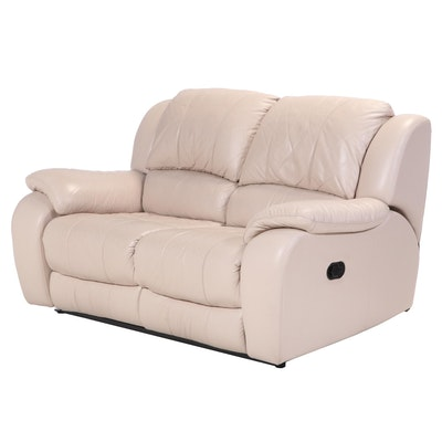 Contemporary Leather Upholstered Pillow Back Reclining Love Seat Sofa