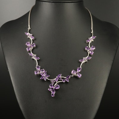 Sterling Silver Amethyst Link Necklace with Foliate Motif