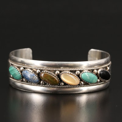 Southwestern Sterling Malachite, Turquoise and Mother of Pearl Cuff