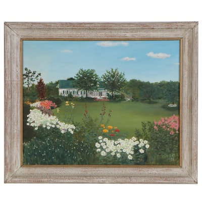 Oil Painting of Summer Landscape with House, 1958