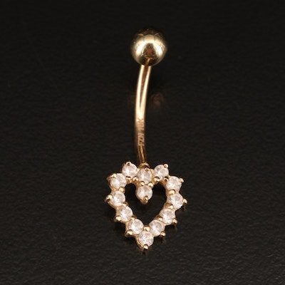 10K Heart Belly Button Stud with Glass Accents