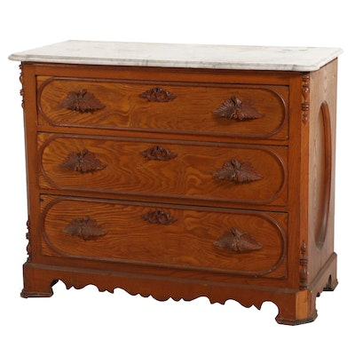 Victorian Oak Commode with Marble Top, Mid to Late 19th Century