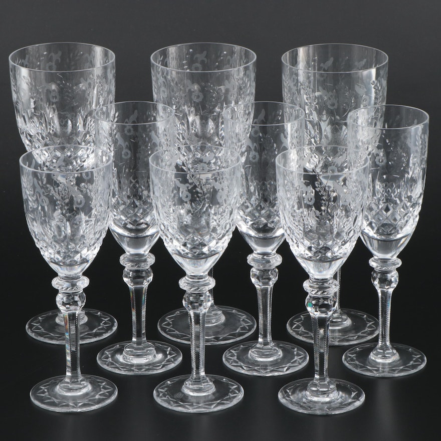"""Rogaska """"Gallia"""" Crystal Water Goblets, Wine Glasses and Champagne Flutes"""