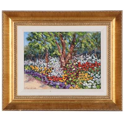 """Wanda Kippenbrock Oil Painting """"Cottonwood Garden"""", 21st Century"""