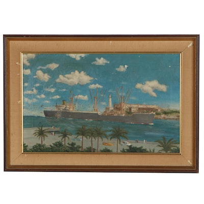 Nautical Landscape Oil Painting, Mid 20th Century
