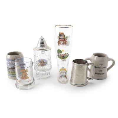 German Glass Boot Stein with Other Pewter, Glass and Ceramic Steins