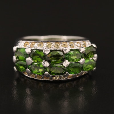 Sterling Silver Diopside and Sapphire Tapered Band