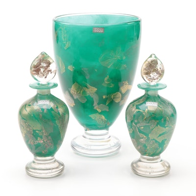 Gozo Maltese Art Glass Vase and Perfume Bottles