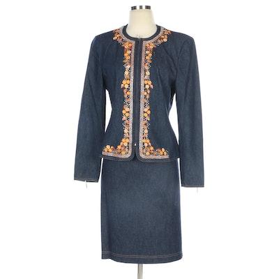 Escada Embellished Denim Skirt Suit