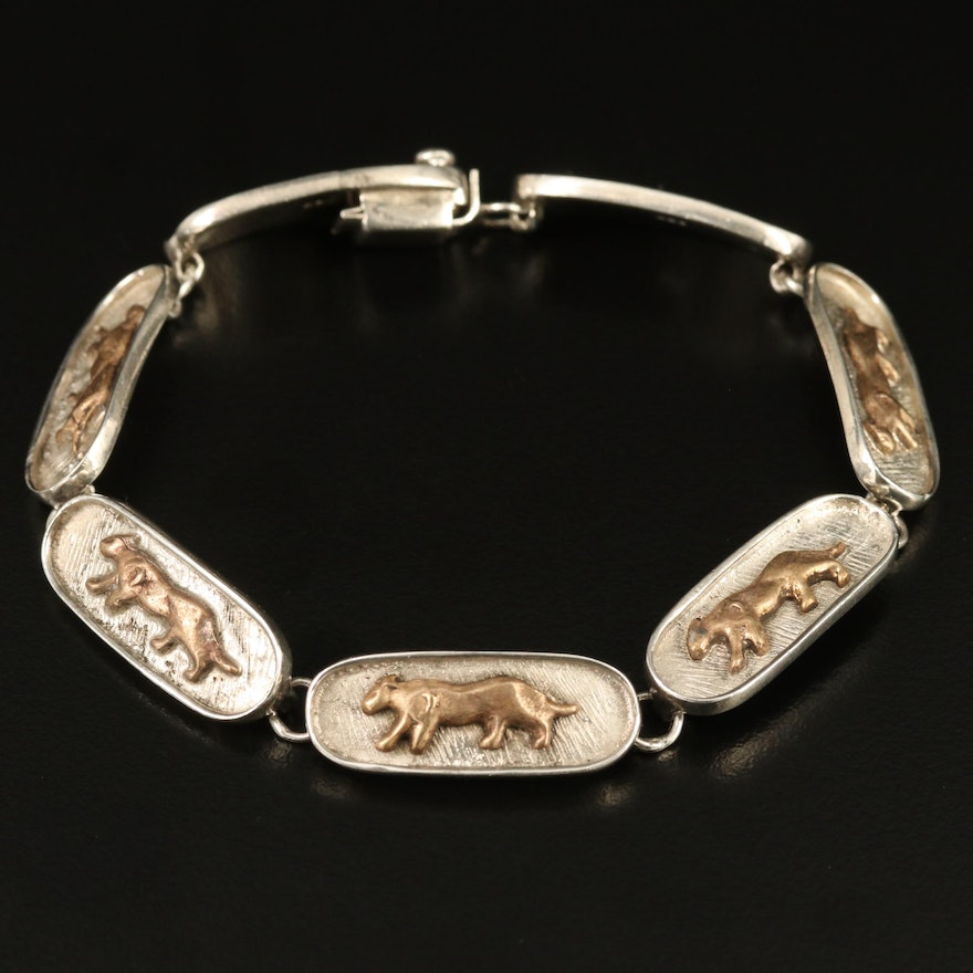 Sterling Silver Link Bracelet with Panther Motif