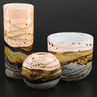 "Gozo Art Glass ""Seashell"" Vases and Decorative Bowl"