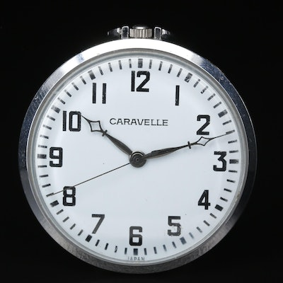 Vintage Caravelle Chrome Plated Open Face Pocket Watch