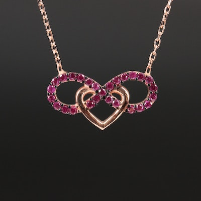 Sterling Silver Ruby Infinity Heart Necklace