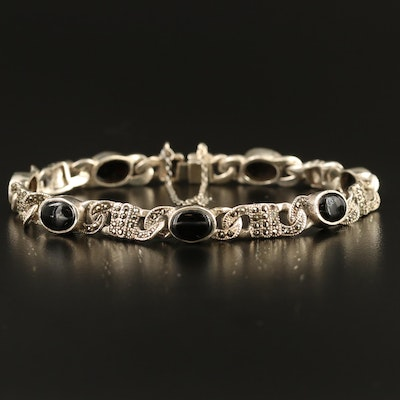 Sterling Silver Black Onyx and Marcasite Bracelet