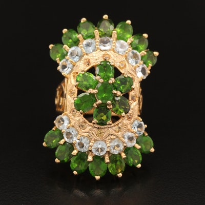 Sterling Silver Diopside and Aquamarine Cluster Ring