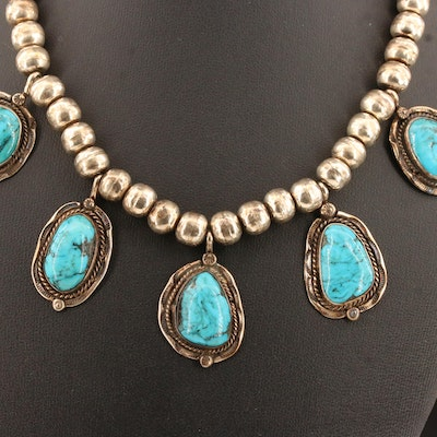 Western Sterling and 800 Silver Turquoise Necklace