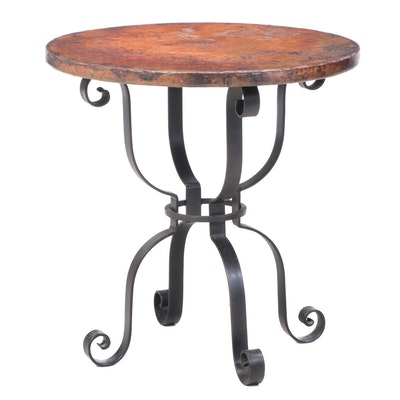 Contemporary Scrolled Iron and Hammered Copper Side Table