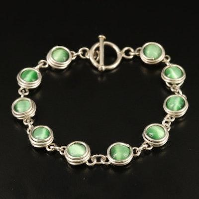Sterling Silver Cat's Eye Glass Bracelet