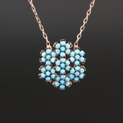 Sterling Silver Faux Turquoise Snowflake Necklace