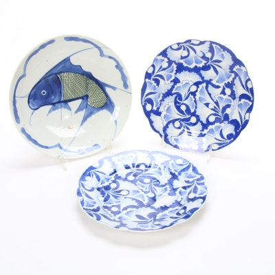 Chinese Artisan Hand-Painted Porcelain Koi Fish and Gingko Leaf Plates