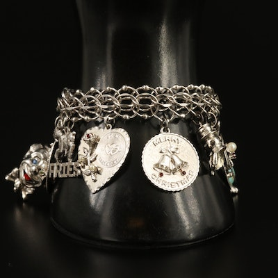 Vintage Sterling Silver Charm Bracelet with Pearl and Enamel