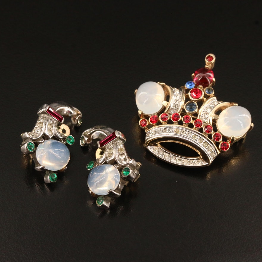 """1950's Crown Trifari Earrings and Coronation Brooch with """"Jelly Belly"""" Cabochons"""