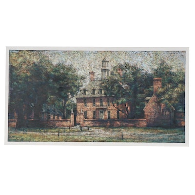 Mike Simpson Impressionist Style Oil Painting of Manor House Landscape