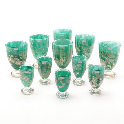 Gozo Maltese Art Glass Goblets and Cordial Glasses